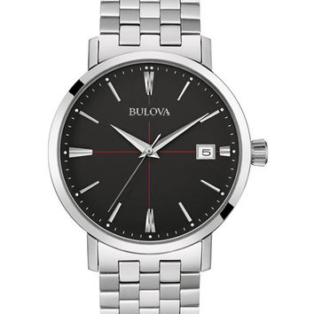 Bulova Mens Classic Collection Watch - Black Dial - Stainless Steel Bracelet