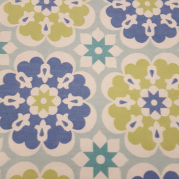 Home Decor Fabric, Cotton, MERRY GO ROUND, Seaglass, Waverly screen print, Half Yard, Beautiful Fabric for Creative Genius Projects