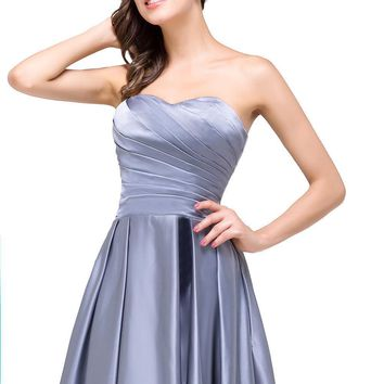 Sexy Backless Gray A line Satin Evening Dress Long Satin Formal Evening Gown