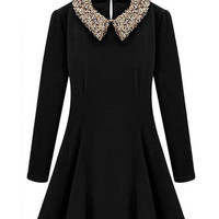 Sequined Pointed Flat Collar Long Sleeve Mini Skater Dress