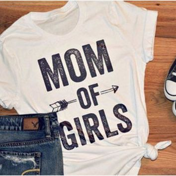 ESBONS Fashion Casual Simple Female 'MOM OF BOYS' Letter Print Round Neck Short Sleeve Cotton T-shirt Tops