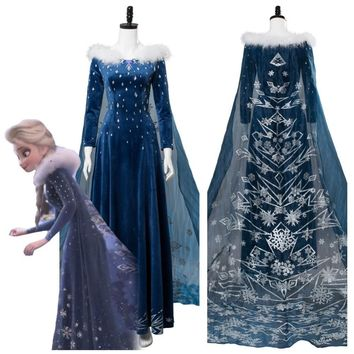 Cool Olaf's Adventure Princess Elsa Dress Cosplay Costume Adult Women Girl Elsa Costume Halloween Carnival Cosplay CostumesAT_93_12