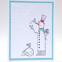 Whimsical Snowman With Birds Handcrafted Winter Holiday Card