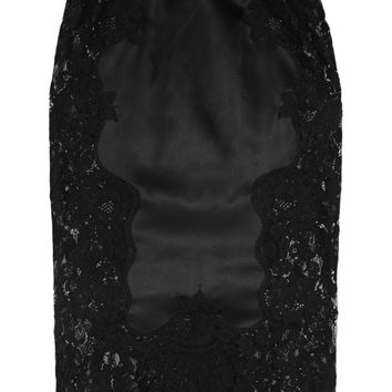 Dolce & Gabbana - Stretch silk-blend satin and lace pencil skirt