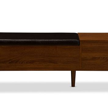 Baxton Studio Merrick Mid-century Retro Modern 1-drawer 2-tone Oak and Dark Brown Wood Entryway Storage Cushioned Bench Shoe Rack Cabinet Organizer Set of 1
