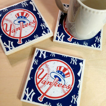 NY Yankees Coasters, Yankees Coasters, New York Yankees, Fathers Day, Sports Coasters, Man Cave, home decor, Office Decor,  Red white blue
