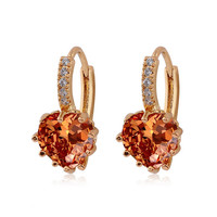 18K Gold Plated Beautiful Shiny Gem Filled Heart Hoop Earring Pair Jewelry 2 Colors (White,Orange)