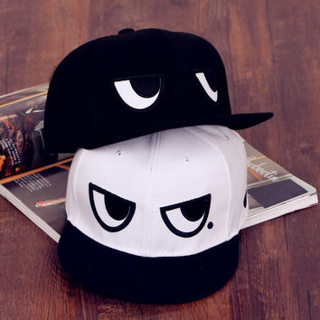 2016 Fashion Brand Snapback Caps New Men's Women's Adjustable Baseball Cap Black White Eyes Snapback Hip-hop Hat FM1018