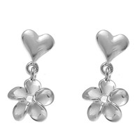 STERLING SILVER 925 RHODIUM HEART DANGLE HAWAIIAN PLUMERIA FLOWER EARRINGS