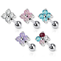 16g Cute Gem Flower Cartilage Earring Stud Body Jewelry Piercing with Surgical Steel Barbell 16 Gauge