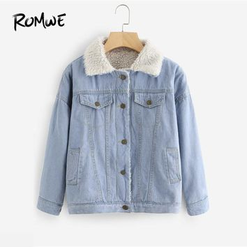 ROMWE Faux Shearling Lined Denim Jacket Women Blue Single Breasted Jean Jackets 2018 Preppy Long Sleeve Jacket