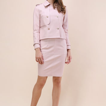 Edgy Code Faux Leather Biker Jacket and Skirt Set in Pink