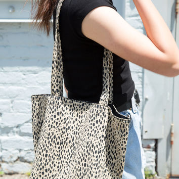 Leopard Print Bucket Tote Bag