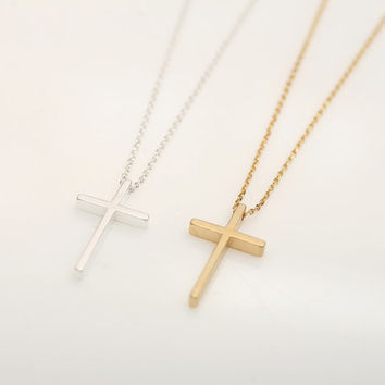 Simple Cross  necklace .Choose your color. Gold or Silver. DoubleBJewelry, DoubleB, Double B.