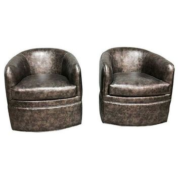 Pre-owned Milo Baughman Style Barrel Chairs - A Pair