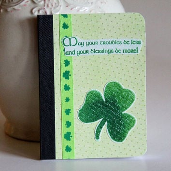 Shamrock Mini Journal with Irish Blessing, Green Pocket Notebook, Memory Keeper, Personal Diary, Altered Composition Book