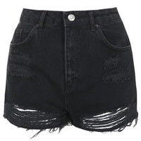 MOTO Washed Black Ripped Mom Shorts - Washed Black