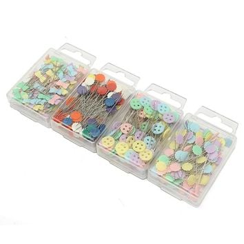 DIY 100Pcs/box Mixed Colors Patchwork Pins Flower Button Head Pins with Box Home Arts Crafts Quilting Tool Sewing Accessories