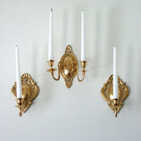 ChristmasinJuly 20% Sale Set of Vintage Brass Wall Sconce Candleholders