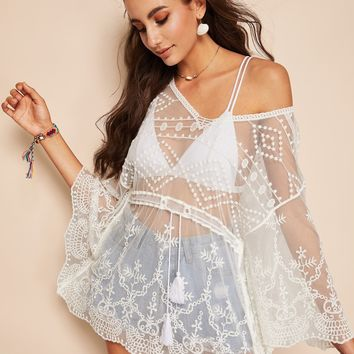 Tassel Drawstring Waist Embroidered Mesh Top Without Bra