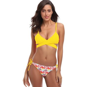 376599c73756e Women Swimwear Padded Fruit Sexy Swimsuits Lace-up Floral Print