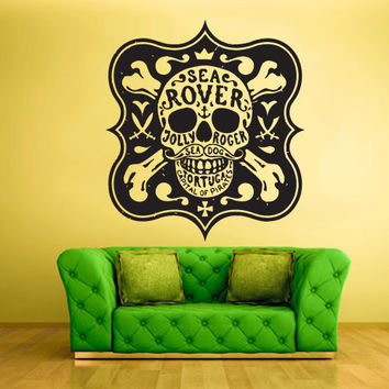 Wall Decal Mural Sticker Beautyfull Cute Sugar Skull Bedroom Curly Menhdi fashion Tortuga Capital Pirate (z2110)