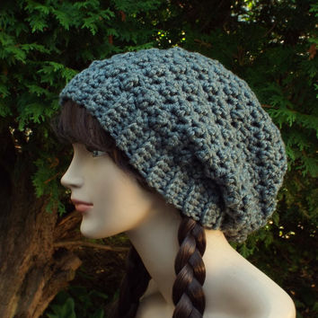 Gray Heather Slouchy Crochet Hat - Womens Slouch Beanie - Oversized Slouchy Beanie - Chunky Hat - Winter Slouchy Hat