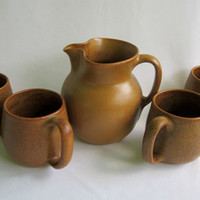 WJ GORDY Pottery Set Vintage Signed Mountain Gold Cartersville Georgia