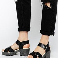 Truffle Collection Platform Cross Strap Heeled Sandals