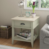 Transitional End Table Laguna Oak Top Beach Sand Finish Living Room Furniture