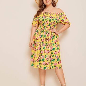 Plus Allover Fruit Print Shirred Bardot Dress