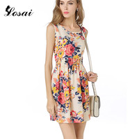 2017 Summer Autumn New Korean Women Casual Bohemian Floral Leopard Sleeveless Vest Printed Beach Chiffon Dress Vestidos Dress