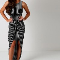 Katrina Black Striped Twist Front Maxi Dress