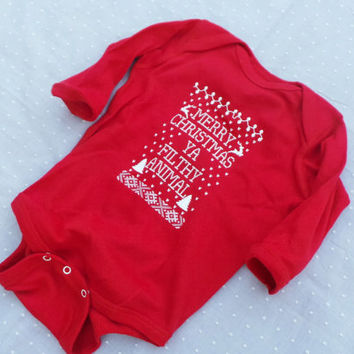 Onesuit. Merry Christmas Ya Filthy Animal, Ugly Sweater Contest, Newborn, 6 month, Baby Long Sleeve Onesuit, (Bodysuit) RED
