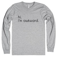hi, im awkward-Unisex Heather Grey T-Shirt