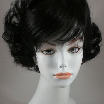 Off Black Curly Human Hair Wig w/Bangs - Monofilament