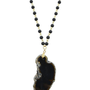 Magical Healing Black Druzy Stone agate Slab Slice Polished Beaded Rosary Necklace