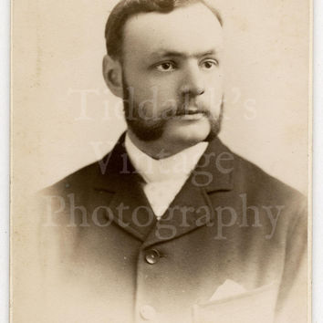 CDV Carte de Visite Photo Victorian Young Handsome Mustached Man by H W Cox of Birmingham England