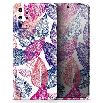 Seamless Pink & Blue Color Leaves - Skin-Kit for the Samsung Galaxy S-Series S20, S20 Plus, S20 Ultra , S10 & others (All Galaxy Devices Available)