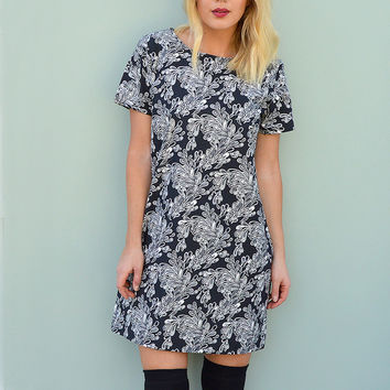 Short Sleeve Shift Dress in Monochrome Handmade by Laura Ralph