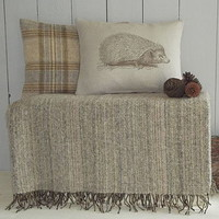 Hedgehog Cushion And Natural Throw Collection