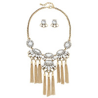 Clear Stone Bib Tassel Statement Necklace