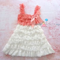 Flower girl dress, Coral White Lace Dress, Girls Dress, white dress,baby girls dress,Birthday dress, girls outfit, junior Bridesmaid dress