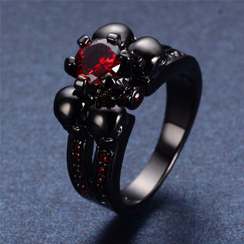 Men Women Skull Ring White Black Ruby Emerald Blue Sapphire Amethyst Colors Wedding Engagement Rings New Top Fashion Jewelry