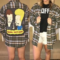Beavis and Butthead tee & flannel shirt top  guys XL ladies smal medium large XL