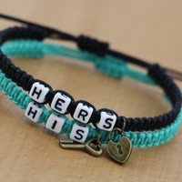 Couples Bracelets Set, His and Hers Bracelets, Key and Lock Bracelets = 1697512708