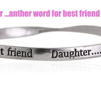 Fashion personality equilibrium bangle, the lettering bracelet (Daughter...anther word for best friend),a perfect gift !