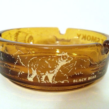 Vintage Smoky Mountains Glass Ashtray