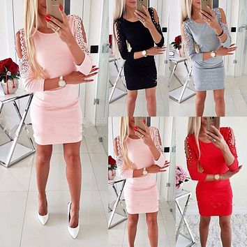 Hirigin Newest Dress Sexy Fashion Women Off Shoulder With Lace Long Sleeve Bodycon Party Evening Mini Pencil Dress Clubwear