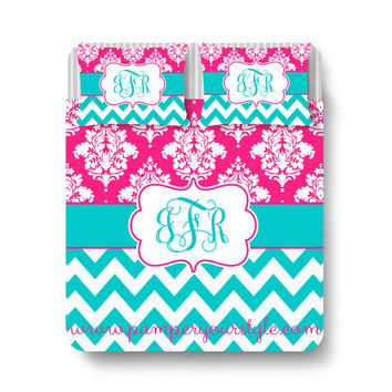 Chevron and Damask Bedding - Hot Pink and Aqua bedding -  Mongrammed, Personalized Duvet or Comforter - Pick Your Color and Size